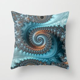 Feathery Flow - Teal and Taupe Fractal Art Throw Pillow