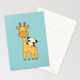 Cute and Kawaii Giraffe and Panda Stationery Cards