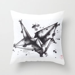 Ink Crane Throw Pillow