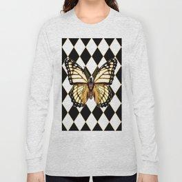 WHITE MONARCH BUTTERFLY & BLACK DIAMONDS Long Sleeve T-shirt