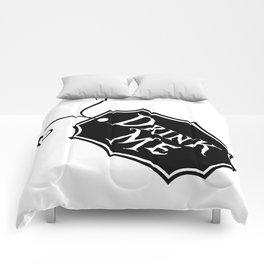 """Drink Me"" Alice in Wonderland styled Bottle Tag Design in Black & White Comforters"