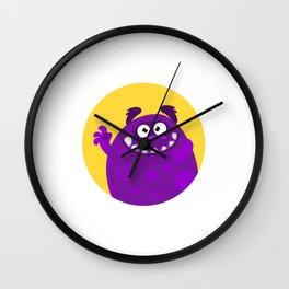 Cute Purple Monster with Teeth Wall Clock