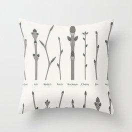 European Tree Shoots Throw Pillow