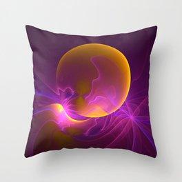 Solar Storm, Abstract Fractal Art Throw Pillow