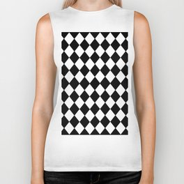HARLEQUIN BLACK AND WHITE PATTERN #2 Biker Tank