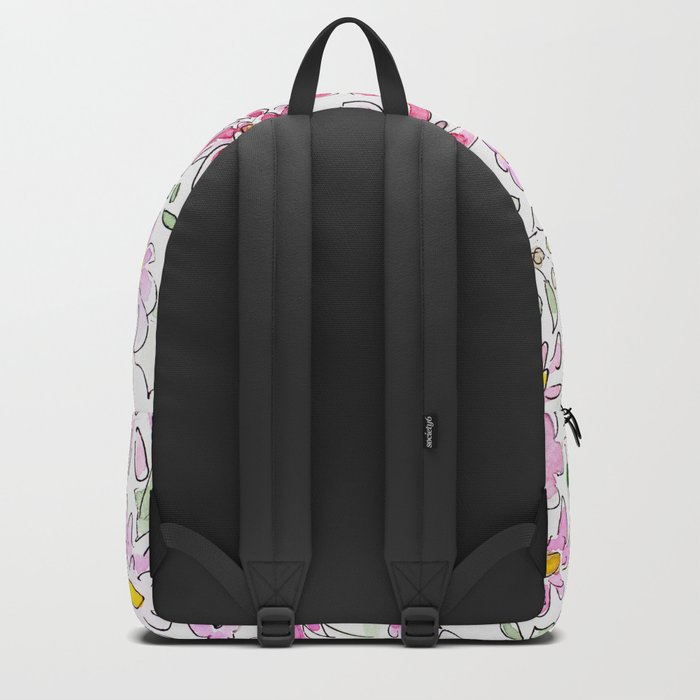 Watercolor . Summer flowers . Backpack