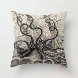 "The octopus; or, The ""Devil-fish"" - Henry Lee - 1875 Giant Octopus Sinking Ship Throw Pillow"