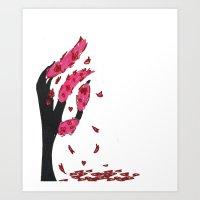 Heart Cherry Blossom Tree Art Print