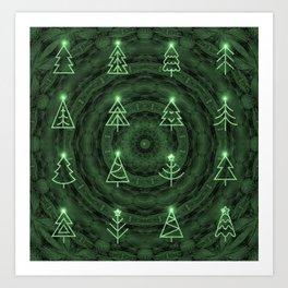 Soulful Neon Christmas Mandala Art Print