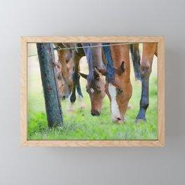 Horses watercolor painting  Framed Mini Art Print