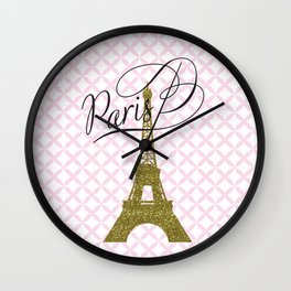 Pink Eiffel Tower , Paris, France , gift for her Wall Clock