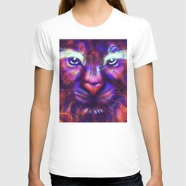 Fantasy lion face made of stars and colorful clouds T-shirt