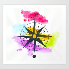 Watercolor Compass Art Print