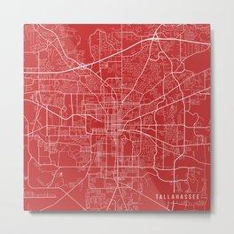 Tallahassee Map, USA - Red Metal Print