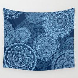 Mandala rain blue Wall Tapestry
