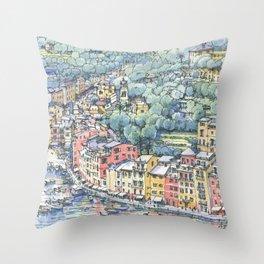 Portofino dal mare Throw Pillow
