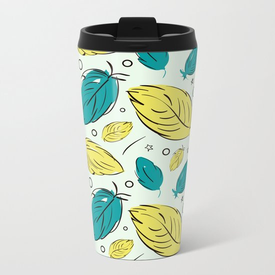 Accent Leaves Metal Travel Mug