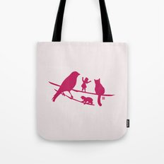 Girl tells a story to her friends Tote Bag
