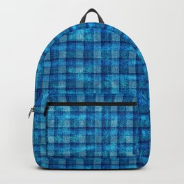 Ocean Blue and Pale Velvety Gingham Plaid Texture Backpack