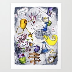 Finn and Jake Lost in Wonderland Art Print