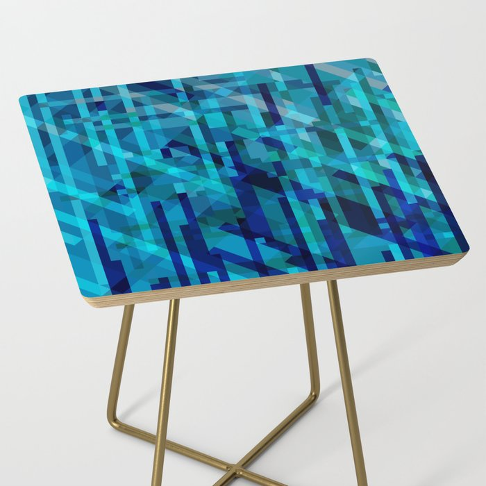abstract composition in blues Side Table