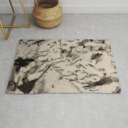 White and Black Stone Design Rug