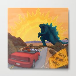 Exit Only Road Work Ahead Desert Monster Apocalypse Chimp Driving Convertible Graphic Design Metal Print