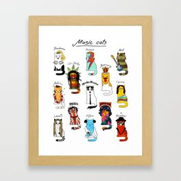 Famous Music Cats – Most Popular Musicians of the World Framed Art Print