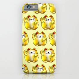 Lucky cat, gold maneki pattern iPhone Case