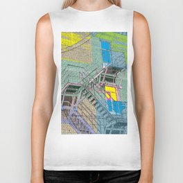 facade with fire escape Biker Tank