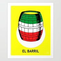 El Barril Mexican Loteria Card Art Print
