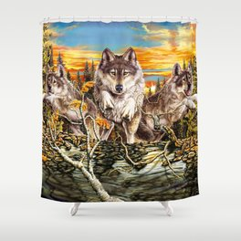 Pack of wolvesrunning Shower Curtain