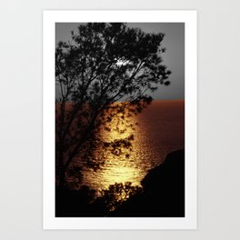 Gold silver sunset black and white with color Art Print