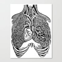 lungs Canvas Prints featuring Lungs by Orange Blood Gallery