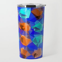 geometric polygon abstract pattern in blue and brown Travel Mug