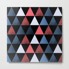 Geometric pattern . red, black, blue, white triangles. Metal Print