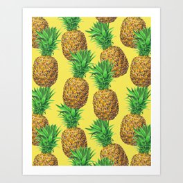 Sunny pineapples Art Print