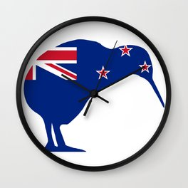 New Zealand Flag With Kiwi SIlhouette Wall Clock