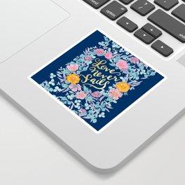 Love Never Fails -  1 Corinthians 13:8 (navy) Sticker