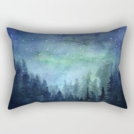 Watercolor Galaxy Nebula Northern Lights Painting Rectangular Pillow