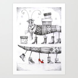 Shopping Centipedes Art Print