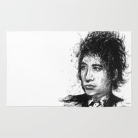 bob dylan Area & Throw Rugs featuring Bob Dylan by Nour Shalabi