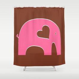Pink Chocolate Elephant Shower Curtain
