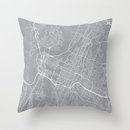 Chattanooga Map, Tennessee USA - Pewter Throw Pillow
