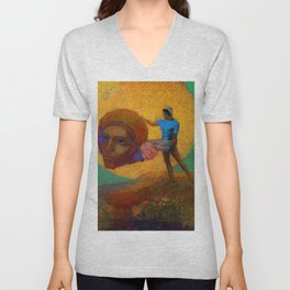 """Odilon Redon """"Figure Holding the Head of an Angel (also known as The Fall of Icarus)"""" Unisex V-Neck"""