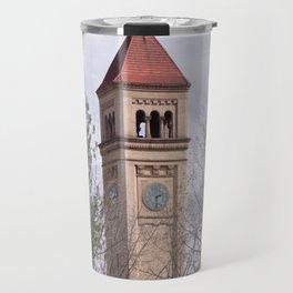 Beautiful Old Clock Tower In Spokane, Washington, Vintage Train Station Clock Tower Travel Mug