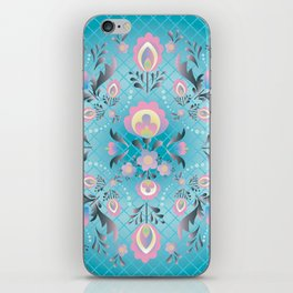 Folk Flowers in Pink and Dusty Blue iPhone Skin