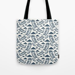 The Hawk's Flight_ Beige and Blue Tote Bag