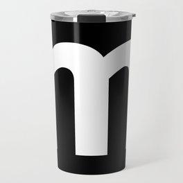 letter M (White & Black) Travel Mug
