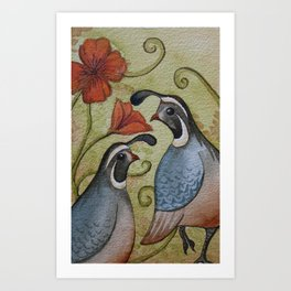 The quail and the poppy watercolor Art Print